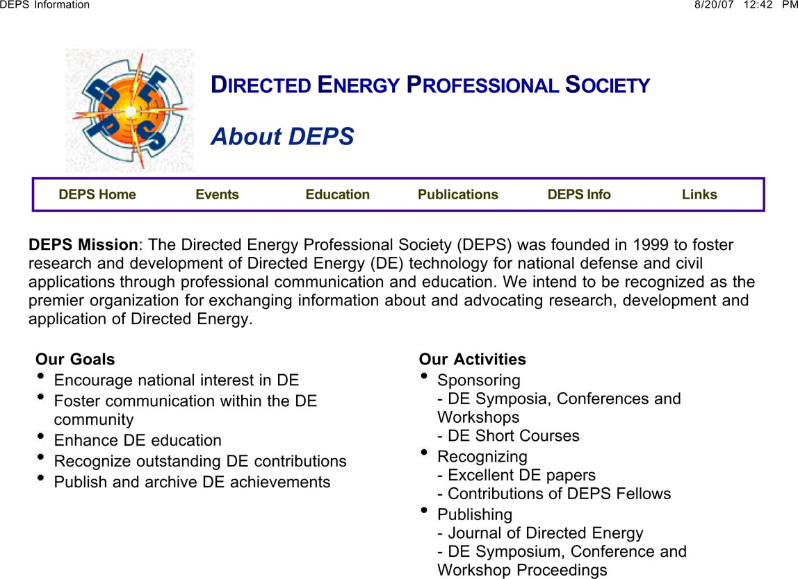 applied research associates ara was a founding member of the directed energy professional society deps the mission of this organization is to foster research and development of