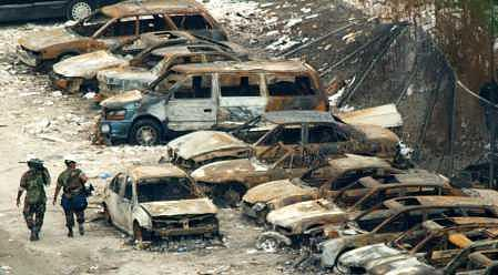 Rusted out cars at ground zero