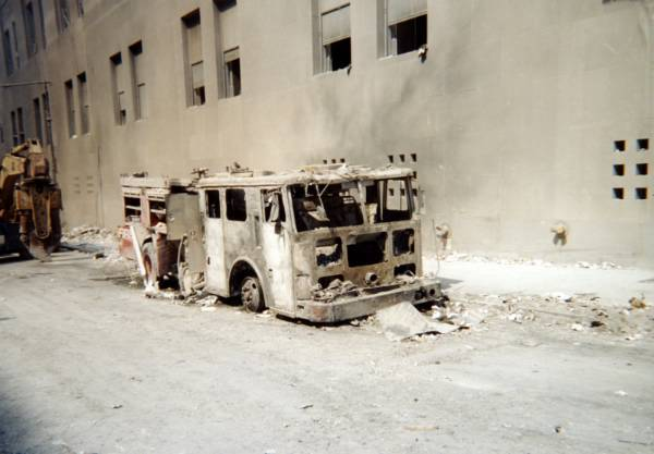 Burned out fire truck at ground zero