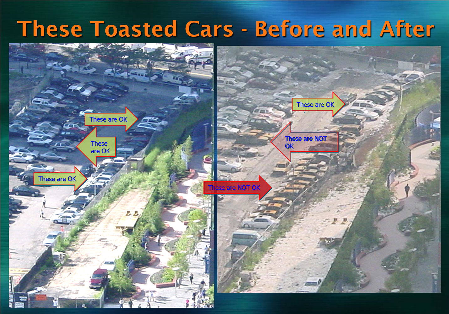 Toasted Cars in a Parking Lot